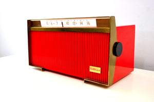 Corsair Red Trav-Ler 1959 Model T-213 AM Vintage Tube Radio Mid Century Marvel! - [product_type} - Travler - Retro Radio Farm