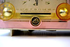 SOLD! - Jan 31, 2019 - Rosebud Pink and White Vintage 1957 RCA Victor C-4FE AM Tube Radio Totally Restored! - [product_type} - RCA Victor - Retro Radio Farm