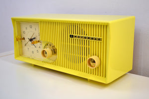 Citron Yellow 1957-58 Motorola Model 5C22Y Vacuum Tube AM Clock Radio Yellow Alert! - [product_type} - Motorola - Retro Radio Farm