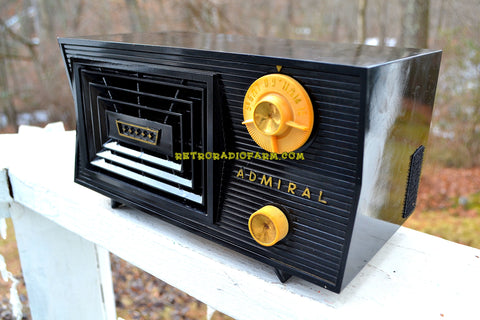 SOLD! - Feb. 15, 2018 - BLUETOOTH MP3 Ready -CAVE ONYX Black Antique Mid Century Vintage 1955 Admiral 5C41N AM Tube Radio Sounds Great!