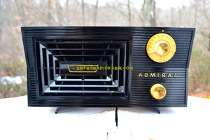 SOLD! - Feb. 15, 2018 - BLUETOOTH MP3 Ready -CAVE ONYX Black Antique Mid Century Vintage 1955 Admiral 5C41N AM Tube Radio Sounds Great! - [product_type} - Admiral - Retro Radio Farm