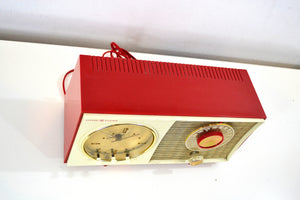 SOLD! - Feb 3, 2020 - Corvette Red and White 1959 General Electric GE Vacuum Tube AM Clock Radio Sounds Great Real Cutie! - [product_type} - General Electric - Retro Radio Farm