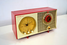 Load image into Gallery viewer, SOLD! - Feb 3, 2020 - Corvette Red and White 1959 General Electric GE Vacuum Tube AM Clock Radio Sounds Great Real Cutie! - [product_type} - General Electric - Retro Radio Farm