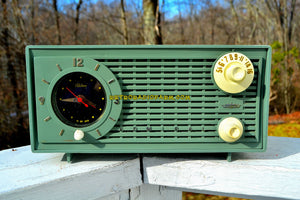 SOLD! - Feb 10, 2018 - BLUETOOTH MP3 UPGRADE ADDED - AVOCADO Vintage 1955 Admiral Y1189 AM Tube Clock Radio Near Mint Condition! - [product_type} - Admiral - Retro Radio Farm