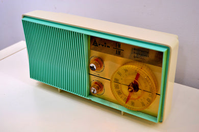 AM FM Turquoise and White Beauty Vintage 1962 Arvin Model 31R26 Tube Radio Amazing! - [product_type} - Arvin - Retro Radio Farm