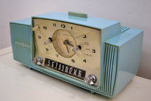 Load image into Gallery viewer, SOLD! - Jan 28, 2020 - Powder Blue 1959 General Electric Model C418A Vacuum Tube AM Clock Radio So Sweet! - [product_type} - General Electric - Retro Radio Farm