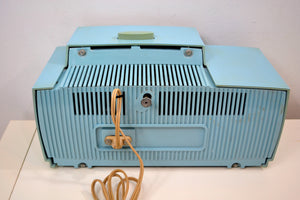 SOLD! - Jan 28, 2020 - Powder Blue 1959 General Electric Model C418A Vacuum Tube AM Clock Radio So Sweet! - [product_type} - General Electric - Retro Radio Farm