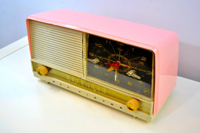 Powder Pink and White 1956 RCA Victor 8-C-7FE Vintage Tube AM Clock Radio - [product_type} - RCA Victor - Retro Radio Farm