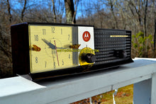 Load image into Gallery viewer, SOLD! - May 14, 2018 - IMMACULATE Espresso Bi-level Retro Jetsons 1957 Motorola 57CD Tube AM Clock Radio Pristine!