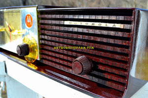 SOLD! - May 14, 2018 - IMMACULATE Espresso Bi-level Retro Jetsons 1957 Motorola 57CD Tube AM Clock Radio Pristine!