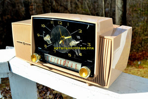 SOLD! - Mar 15, 2018 - BEIGE PINK Mid Century Jetsons 1959 General Electric Model C-4340 Tube AM Clock Radio Totally Restored! - [product_type} - General Electric - Retro Radio Farm