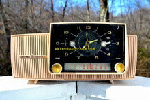 Load image into Gallery viewer, SOLD! - Mar 15, 2018 - BEIGE PINK Mid Century Jetsons 1959 General Electric Model C-4340 Tube AM Clock Radio Totally Restored! - [product_type} - General Electric - Retro Radio Farm