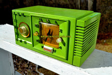 Load image into Gallery viewer, SOLD! - Jan 30, 2018 - CHARTREUSE Mid Century Retro Jetsons 1954 Firestone 4-A-134 Tube AM Clock Radio Extremely Rare! - [product_type} - Firestone - Retro Radio Farm
