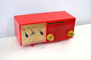 Cardinal Red 1956 Motorola 56CS4A Tube AM Clock Retro Radio - [product_type} - Motorola - Retro Radio Farm