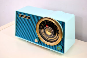 SOLD! - Aug 29, 2019 - Baby Blue on Blue Vintage 1963 Motorola Model A18B49 AM Tube Radio - [product_type} - Motorola - Retro Radio Farm