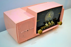 SOLD! - Jan 31, 2020 - Rose Pink 1959 General Electric Model C-4340 Vacuum Tube AM Clock Radio Mid Century Splendor! - [product_type} - General Electric - Retro Radio Farm