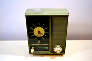 "SOLD! - Feb 13, 2019 - ""The Space Maker"" Olive Green Vintage Westinghouse H-211L5 Retro Radio - [product_type} - Westinghouse - Retro Radio Farm"