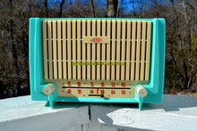 Load image into Gallery viewer, SOLD! - June 20, 2018 - CERULEAN Turquoise Mid Century Retro 1955 AMC Model 7TAF AM/FM Tube Radio Extremely Rare and Sounds Great!