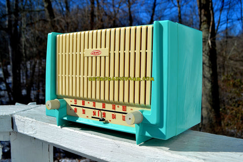 CERULEAN Turquoise Mid Century Retro 1955 AMC Model 7TAF AM/FM Tube Radio Extremely Rare and Sounds Great!
