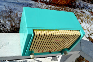 SOLD! - June 20, 2018 - CERULEAN Turquoise Mid Century Retro 1955 AMC Model 7TAF AM/FM Tube Radio Extremely Rare and Sounds Great!