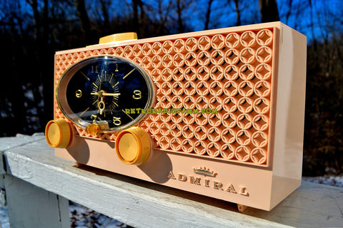 MINK PINK Vintage Atomic Age 1959 Admiral Y3354 Tube AM Radio Clock Near Mint!
