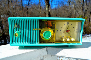 SOLD! - Feb. 15, 2018 - VIVID Turquoise Retro Jetsons 1957 Motorola 57CC Tube AM Clock Radio Excellent Plus! - [product_type} - Motorola - Retro Radio Farm