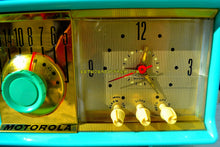 Load image into Gallery viewer, SOLD! - Feb. 15, 2018 - VIVID Turquoise Retro Jetsons 1957 Motorola 57CC Tube AM Clock Radio Excellent Plus! - [product_type} - Motorola - Retro Radio Farm