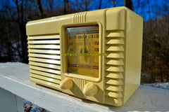 SOLD! - May 14, 2018 - GRECIAN IVORY Post War Deco Retro 1941 Philco Transitone Model PT-28 Tube AM Radio Excellent Plus Condition!