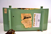 Load image into Gallery viewer, Spruce Green 1956 Zenith A615F AM Vacuum Tube Radio Real Looker Sound Blaster! - [product_type} - Zenith - Retro Radio Farm