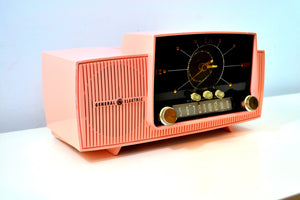 SOLD! - March 2, 2019 - Bellefonte Pink 1957 General Electric Model 912D Tube AM Clock Radio - [product_type} - General Electric - Retro Radio Farm