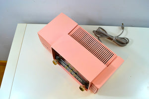 Bellefonte Pink 1957 General Electric Model 912D Tube AM Clock Radio - [product_type} - General Electric - Retro Radio Farm