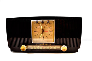 SOLD! - Apr 18, 2019 - Bluetooth Ready Elegant 1955 General Electric Model 551 Vintage AM Clock Radio - [product_type} - General Electric - Retro Radio Farm