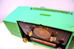 Atomic Blue Green 1957 General Electric Model 912D Tube AM Clock Radio - [product_type} - General Electric - Retro Radio Farm