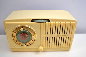 Ivory White Vintage 1948-49 General Electric Model 516 AM Vacuum Tube Radio Solid Player Popular Model! - [product_type} - General Electric - Retro Radio Farm