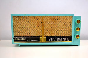Ming Turquoise 1957-1958 Silvertone Model 8011 Vacuum Tube AM Radio Twin Speaker Mid Century Charmer! - [product_type} - Sylvania - Retro Radio Farm
