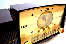 Load image into Gallery viewer, Burgundy Brown 1957 General Electric Model 912 Vacuum Tube AM Clock Radio Solid Player Lovely Swirl! - [product_type} - General Electric - Retro Radio Farm