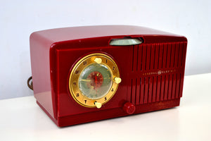 SOLD! - Feb 17, 2019 - Ruby Red Vintage 1954 General Electric Model 556 AM Tube Radio - [product_type} - General Electric - Retro Radio Farm