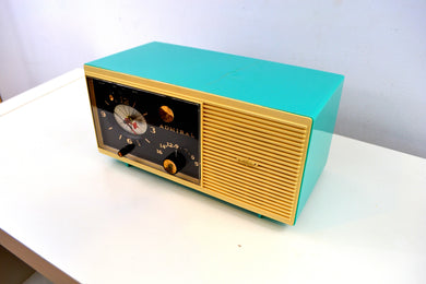 Aqua Blue 1959 Admiral Y3048 Tube AM Radio Alarm Clock - [product_type} - Admiral - Retro Radio Farm