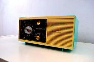 SOLD! - Oct 28, 2019 - Aqua Blue 1959 Admiral Y3048 Tube AM Radio Alarm Clock - [product_type} - Admiral - Retro Radio Farm