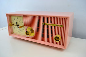 SOLD! - May 28, 2019 - Capri Pink Motorola 1957 Model 5C13P Clock Radio - [product_type} - Motorola - Retro Radio Farm