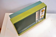 "Load image into Gallery viewer, AM FM Olive Green and Grey Blue 1962 Magnavox ""Park Avenue"" Model FM042 Vacuum Tube Radio Loud Clear Sounding! - [product_type} - Magnavox - Retro Radio Farm"