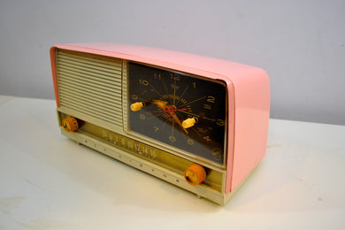 Pink and White 1956 RCA Victor 8-C-7FE Vintage Tube AM Clock Radio - [product_type} - RCA Victor - Retro Radio Farm