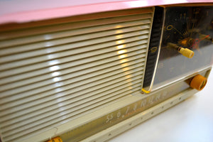 Pretty in Pink and White 1956 RCA Victor 8-C-7FE Vintage Tube AM Clock Radio Works Great! - [product_type} - RCA Victor - Retro Radio Farm