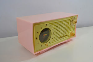 SOLD! - Feb 20, 2019 - Vintage Pink and White 1955 Admiral 5C4 AM Clock Radio Works! - [product_type} - Admiral - Retro Radio Farm