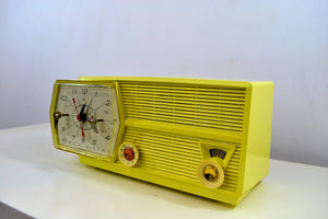 SOLD! - Feb 24, 2019 - Meringue Yellow RCA Victor 8-C-6M Clock Radio 1959 Tube AM Clock Radio - [product_type} - RCA Victor - Retro Radio Farm
