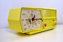 Load image into Gallery viewer, SOLD! - Feb 24, 2019 - Meringue Yellow RCA Victor 8-C-6M Clock Radio 1959 Tube AM Clock Radio - [product_type} - RCA Victor - Retro Radio Farm