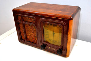SOLD! - Feb 18, 2020 - Western Wood 1936 Emerson Model 132A AM Vacuum Tube Radio Hopalong Cassidy Would Approve! - [product_type} - Emerson - Retro Radio Farm