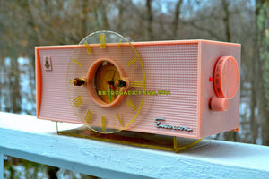 SOLD! - Feb 27, 2018 - TIFFANY PINK Mid Century Vintage Retro 1956 Emerson 826 Tube AM Clock Radio Totally Restored! - [product_type} - Emerson - Retro Radio Farm