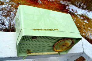 SOLD!- Sept. 9, 2018 - BLUETOOTH MP3 Ready - Julep Green Mid Century Retro Vintage 1956 RCA Victor Model 6-X-7C AM Tube Radio Excellent Condition! - [product_type} - RCA Victor - Retro Radio Farm