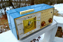 Load image into Gallery viewer, SOLD! - June 23, 2018 - DAKOTA BLUE Mid Century Retro Vintage 1959 Bulova Model 190 Tube AM Clock Radio Looks Spectacular!